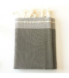 Fouta - tissage plat tons gris marron liséré or